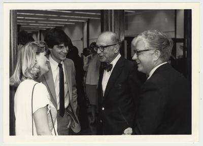 Luncheon and reception for Daniel Boorstin, Librarian of Congress, in King Library North; From left: Donna Greenwall, incoming S. G. A. president; Bill Dehlinger, 1986 graduate and chairman of S. G. A. Library Advisory Committee; Dr. Boorstin; Paul Willis, Director of Libraries