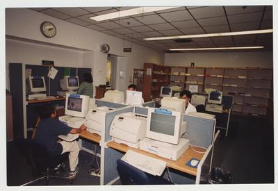 Students working at computers in the Medical Library (located in the Medical Center); Photographer: Mark Minor