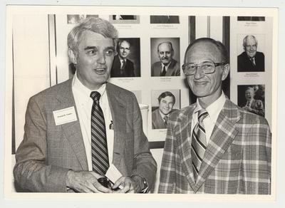 Leonard Press (left), Director of KET, and Donald B. Towles (right), are conversing at the Hillbrook Collection dedication