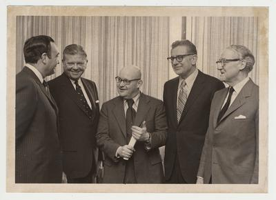 The Thurston B. Morton senatorial papers were presented to the University of Kentucky during private ceremonies on the campus; Attending the ceremony are, from left, Governor Louie Nunn; former Senator Morton; Dr. Stuart Forth, director of UK libraries; UK President Otis Singletary; and Senator John Sherman Cooper