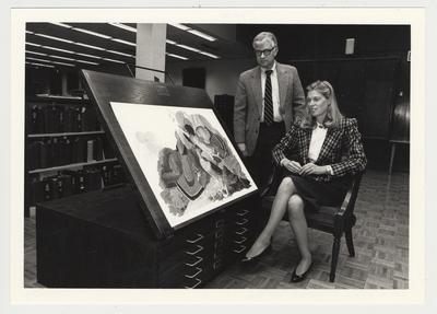 Helen Alexander with Paul Willis, director of the Libraries