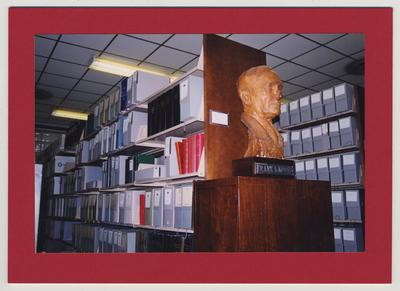 A bust of Frank L. McVey in the University Archives and Records Program office in Room 2004 King Library