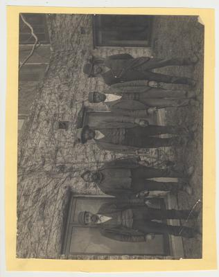 Five unidentified male African - American janitors of the Kentucky State University standing near the Chemistry building