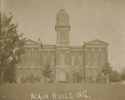 Administration Building, with rounded cupola and hand-titled