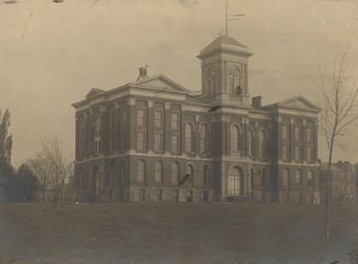 Administration Building, top of cupola removed in 1897, dating the photo to 1897-1903; received August 18, 1948 from Dr. Funkhouser's office