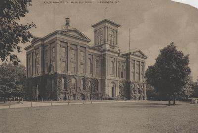 Administration Building; sepia tone postcard published by Wrenn and King, Lexington