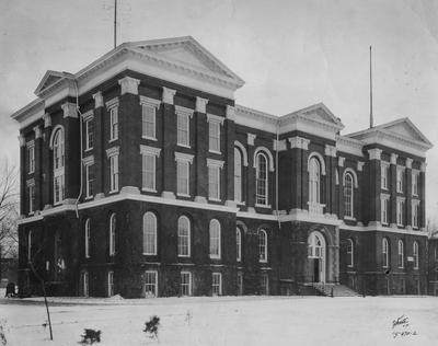 Administration Building during winter. Photo appears on page 9 in the 1920 Kentuckian