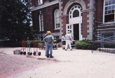 Administration Building fire, May 15, 2001; Bob Vanchure (blue hat), Munter's Corp. Disaster representative, Tom Rosko (yellow hat) and Matt Harris (white hat), University Archives and Records Program