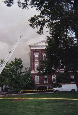 Administration Building fire, May 15, 2001; photos 475-501 are different views of the building as firefighters work to contain the blaze and the damage; photographer:  Steve Stahlman