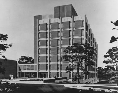 Architectural drawing of Anderson Hall, designed by Brock and Johnson Architects