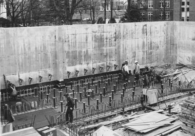 Workers getting a section of foundation ready for pouring concrete for Anderson Hall; Public Relations photo