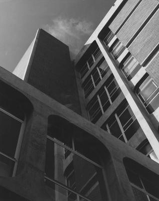 View of Anderson Hall tower from base of building looking up