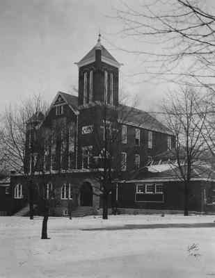 Barker Hall during winter; photo appears in 1920 Kentuckian, page 13; photographer:  White Studio