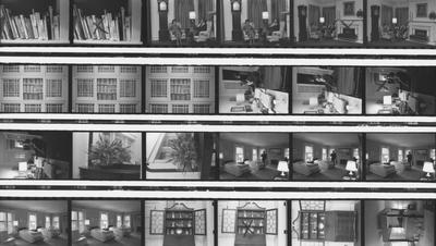 Proof sheet, 26 images, of various rooms inside the Carnahan House