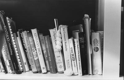 Close-up picture of books on a shelf in the Carnahan House