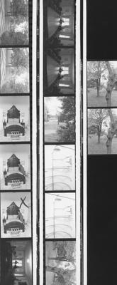Proof sheet, 14 images, of various rooms and the grounds around the Carnahan House