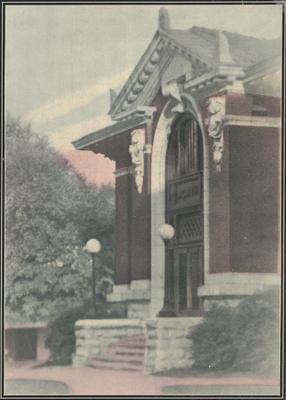 The Carnegie Library which was named for its benefactor, Andrew Carnegie and was completed in 1908, opened in 1909 and destroyed in 1967 to make room for two projects:  the Patterson Office Tower and the White Hall Classroom building, This print appears on page 17 in the 1925 yearbook