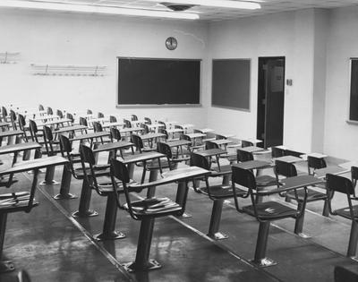 A classroom in the Chemistry and Physics Building. This is typical seating throughout the building