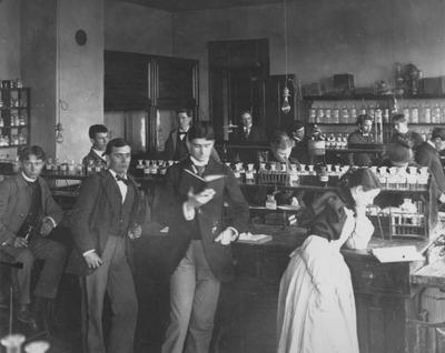 Students at work in a chemistry laboratory