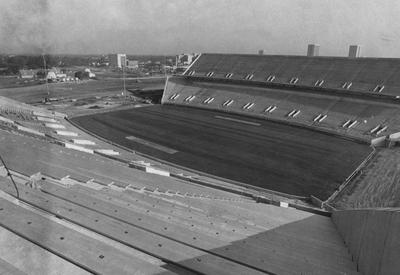 Construction of the Commonwealth Stadium is nearing completion. Photographer: Frank Anderson of the Herald-Leader