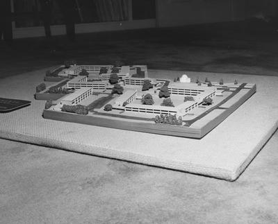 A model of the Cooperstown Apartments. This model was made by Brock and Johnson Architects