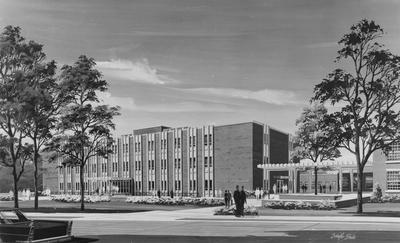 An architectural drawing of the College of Education Building (Dickey Hall). Drawing by: Scheffer Studio. Architects: Wichman, Sallee, and Martin Architects-Engineers. Received on January 24, 1963 from Public Relations