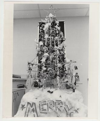 A Christmas tree made with medical supplies