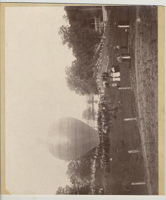 Scene of State College Cadet encampment with hot air ballon.  Clyffeside Park near Ashland