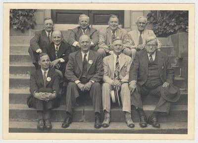 1946 Reunion of the University of Kentucky Class of 1906.  Lower row, left to right: L. C. Brown (St. Petersburg, FL), H. C. Robinson (Lexington, KY), F. W. Rankin (Springfield, Ohio), J. C. Nisbet (Madisonville, KY).  Middle row: G. P. Edmonds (Chicago, IL). Top row, left to right: H. H. Wilson (Lexington, KY). H. R. Moore  (Riverside, IL), Omar McDowell (Cleveland, OH), S. C. Jones (Lexington, KY).  Attending but not in picture: Wylie Wendt (Louisville, KY), Phil Riefkin (Washington DC), J. W. Lancaster (Georgetown, KY), J. S. McHargue (Lexington, KY), Anna Wallis (Lexington, KY), and R. P. Duvall (Lexington, KY)
