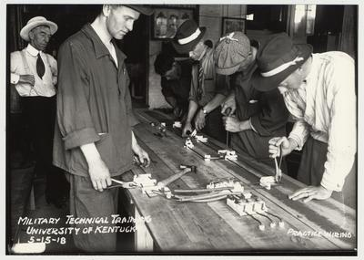 University of Kentucky military technical training during World War I.  Practice wiring
