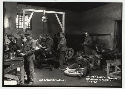 University of Kentucky military technical training during World War I. One of the Auto Shops