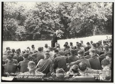 University of Kentucky military technical training during World War I.  Farewell Address - Honorable E. P. Morrow