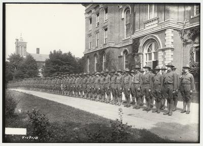 University of Kentucky military technical training during World War I.  Cadets lined up in front of the Administration building