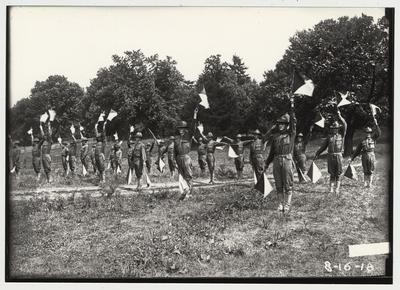 University of Kentucky military technical training during World War I.  Flag signals
