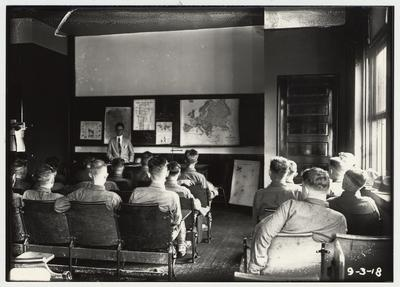 University of Kentucky military training during World War I.  Students in the classroom