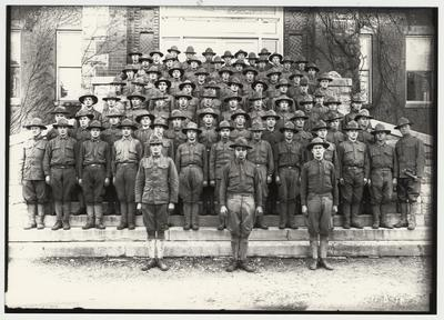 University of Kentucky military training during World War I.  Cadets on the steps of Miller Hall