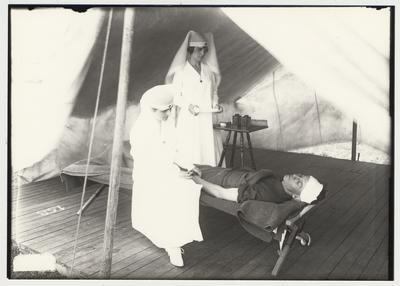 University of Kentucky military technical training during World War I.  Nurses tend an injured cadet