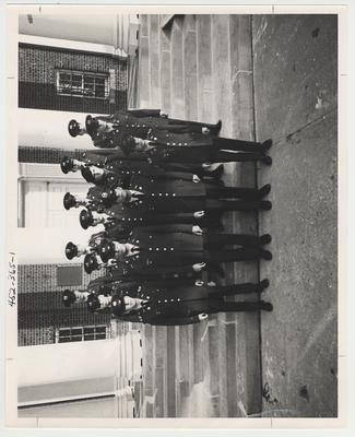 The 1969 Army Reserve Officers Training Corps Junior Class on the steps of Memorial Hall.  This photo is in the 1969 Kentuckian on page 365