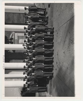 The 1969 Army Reserve Officers Training Corps Junior Class in front of Memorial Hall.  This photo is in the 1969 Kentuckian on page 365