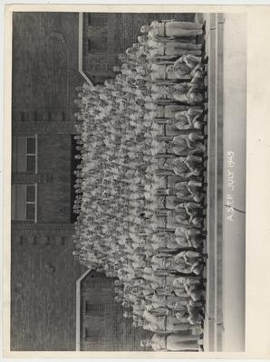 Army Specialized Training Program enrollees, July 1945.  Coordinated by the College of Engineering.  Funkhouser building is in the background