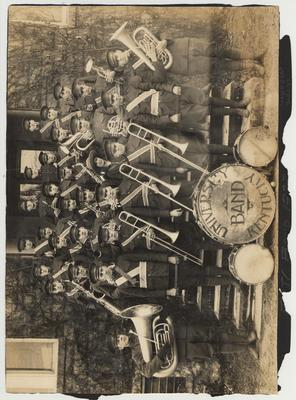 On this side of the photo is the 1922-23 Military Band posing on the steps of Barker Hall.  On the other side is the 1922-23 Reserve Officers Training Corps Battalion Sponsors