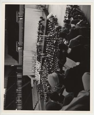 An overhead shot of President Frank Dickey's inauguration at Memorial Coliseum