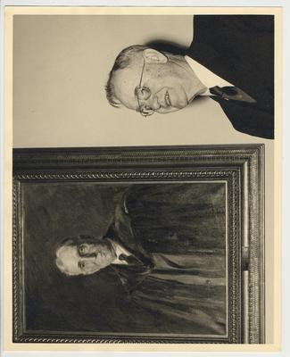 President Donovan next to a portrait of his predecessor, Frank McVey