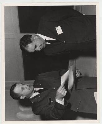President Oswald (right) at the United States Army Armor Center with Officer Otte