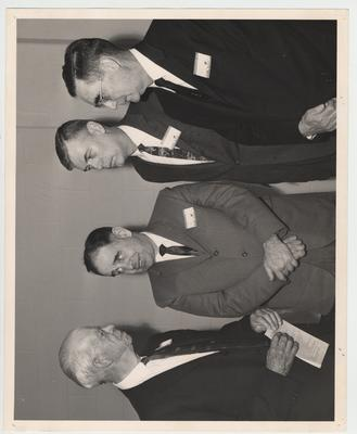President Oswald (second from left) welcomes delegates from the south at the Seventeenth Annual Southern Humanities Conference, held at the King Alumni House.  Doctor Thomas B. Stroup of the University of Kentucky department of English and chairman of the conference, is standing second from the right.  On the far left is Sturgis E. Leavitt of the University of North Carolina, chairman emeritus of the conference
