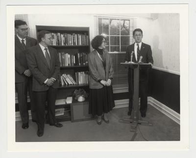 President Roselle (far right) speaking at the Harris Psychological Center dedication