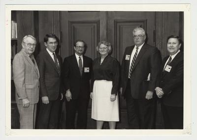 The Experimental Program to Stimulate Competitive Research fourth annual meeting.  From left to right: United States Senator Wendell Ford, President Roselle, L. Daniels, Mary Good, R. Greene, and L. Peters