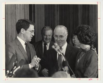 President David Roselle (right) talking with Robert McCowan (center) and First Lady Louise Roselle