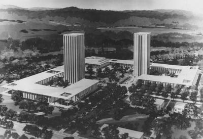Aerial architectural drawing of the new Kirwan-Blanding Complex