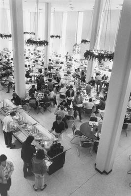 Dining in the Commons Cafeteria in 1986 at the Kirwan-Blanding Complex